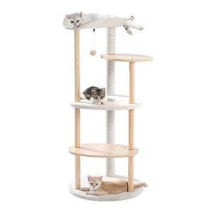 [Amazonブランド] Umi.(ウミ) キャットタワー ねこのおもちゃ 運動不足解消 おしゃれ シンプル 手触り抜群 木製と?|slow-lifes