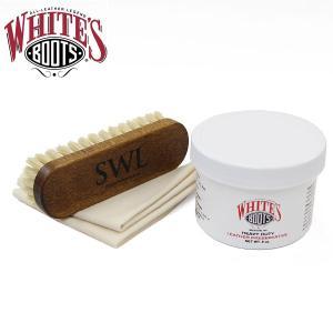 WHITE'S ホワイツブーツメンテナンス スタンダード セット WHITE'Sオイル SLOWWEARLIONオリジナルロゴ入りブラシ クロス 3点セット