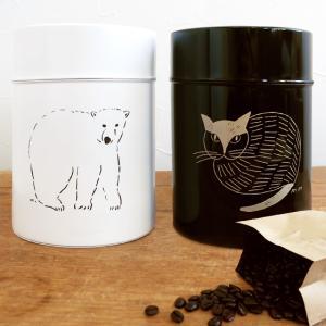 松尾ミユキ コーヒー缶 L 保存容器 キャニスター かわいい 猫 缶 茶筒