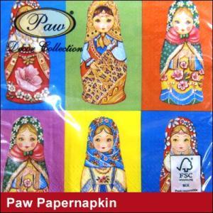 ペーパーナプキン Paw Decor Collection マトリョーシカ ポーランド製 紙ナプキン デコパージュ キッチン ナプキン 北欧 ペーパータオル アンティーク