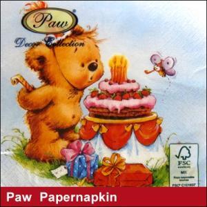 ペーパーナプキン Paw Decor Collection クマ×ケーキ WHITE 誕生祝い/ ポーランド製