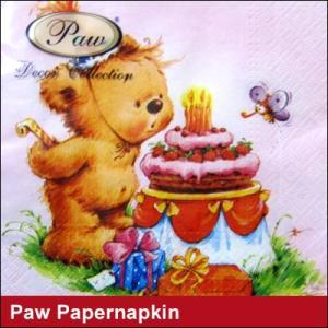 ペーパーナプキン Paw Decor Collection クマ×ケーキ 誕生祝い/ ポーランド製 紙ナプキン(ネコポス対応)