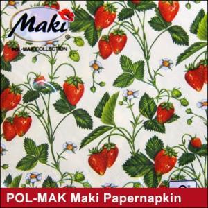 ペーパーナプキン POL-MAK Maki いちご ストロベリー/ ポーランド製(ネコポス対応)