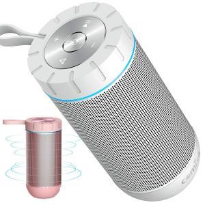 Bluetooth スピーカー ワイヤレススピーカー ホワイト/ローズレッド 高音質 36時間連続再生 完全ワイヤレスステレオ対応 IPX5防水規格 マイク内蔵の画像