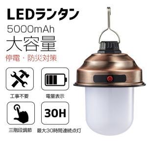 LEDランタン USB充電式 キャンプランタン 吊り下げ 3段階調光 5000mAh大容量 電池内蔵...