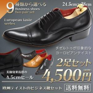 ビジネスシューズ 2足セットで4,000円(税別) 革靴 メンズ 9種類から選べる プレーントゥ ストレートチップ ダブルストラップ 紳士靴 【2足ご注文ください】