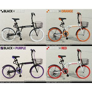 折りたたみ自転車 20インチ シマノ製6段ギア 15色 折り畳み自転車 折畳自転車 カゴ付き 小径車 ミニベロ 自転車 通販 おしゃれ 送料無料|smart-factory|03