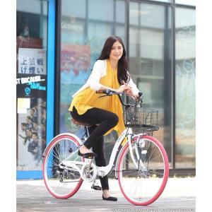 折り畳み自転車 3000円クーポン 26インチ カゴ付 ライト 鍵 シマノ製6段ギア 全5色 シティサイクル ママチャリ|smart-factory|06
