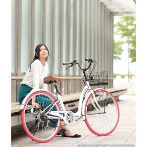 折り畳み自転車 3000円クーポン 26インチ カゴ付 ライト 鍵 シマノ製6段ギア 全5色 シティサイクル ママチャリ|smart-factory|07
