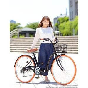 折り畳み自転車 3000円クーポン 26インチ カゴ付 ライト 鍵 シマノ製6段ギア 全5色 シティサイクル ママチャリ|smart-factory|09