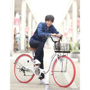 折り畳み自転車 3000円クーポン 26インチ カゴ付 ライト 鍵 シマノ製6段ギア 全5色 シティサイクル ママチャリ|smart-factory|11