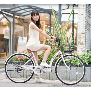 折り畳み自転車 3000円クーポン 26インチ カゴ付 ライト 鍵 シマノ製6段ギア 全5色 シティサイクル ママチャリ|smart-factory|13