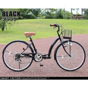 折り畳み自転車 3000円クーポン 26インチ カゴ付 ライト 鍵 シマノ製6段ギア 全5色 シティサイクル ママチャリ|smart-factory|17