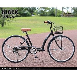 折り畳み自転車 3000円クーポン 26インチ カゴ付 ライト 鍵 シマノ製6段ギア 全5色 シティサイクル ママチャリ|smart-factory|18