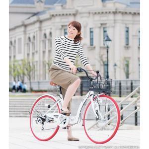折り畳み自転車 3000円クーポン 26インチ カゴ付 ライト 鍵 シマノ製6段ギア 全5色 シティサイクル ママチャリ|smart-factory|05