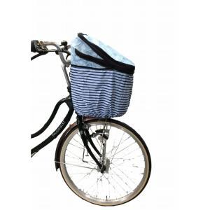 送料無料 前カゴ用カバー 2段式 OF-PB スカイブルー ネイビーボーダー ネイビー フロントバスケット サイクルカバー|smart-factory|07