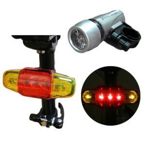 自転車 ライト 防水 LEDライト 5灯 フロントライト リアライト セット 単4電池|smart-factory