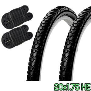 自転車 タイヤ 20インチ チューブ セット ペア 20x1.75 HE ブラック SR046 SHINKO シンコー 送料無料 当日発送|smart-factory