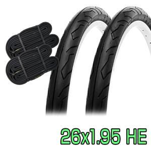 自転車 タイヤ 26インチ チューブ セット ペア 26x1.95 HE ブラック SR064 SHINKO シンコー 送料無料 当日発送|smart-factory