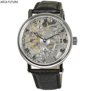 b01b446400 アルカフトゥーラ 腕時計 P0110201BK メカニカルスケルトン 手巻き ブラックレザーベルト 送料無料