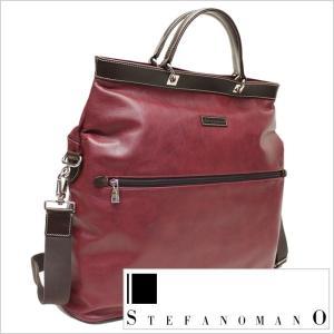 トートバッグ STEFANO MANO ステファノマーノ メンズ 紳士用 ビジネスバッグ 鞄 カバン かばん 2WAY ショルダー ブリーフケース ワイン|smartbiz