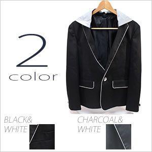 テーラードジャケット ノッチドラペル メンズ ジャケット 紳士用 ブラック 黒 チャコール ホワイト 白|smartbiz