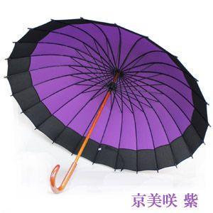 24本骨傘 レディース 和傘 雨傘 長傘 60cm パープル 紫 ピンク エンジ 無地 レイングッズ|smartbiz