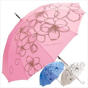 十二本骨雨傘 女性用 レディース 傘 レイングッズ 雨傘 さくら 桜柄 ピンク アイボリー ブルー|smartbiz