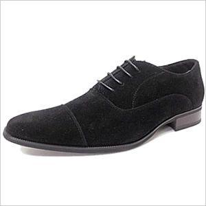 レースアップシューズ メンズ 靴 レザーシューズ ビジネスシューズ 紳士用 内羽根 ストレートチップ ブラック 黒 スエード|smartbiz