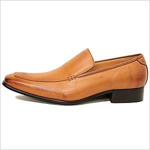 スリッポン ビジネスシューズ メンズ 紳士用 日本製 レザーシューズ 革靴 レザー 牛革 ブラウン Uチップ|smartbiz