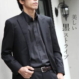 ワイシャツ 長袖 2枚衿 ボタンダウン ストライプ 襟高デザイン 長袖 カッターシャツ Yシャツ 黒...