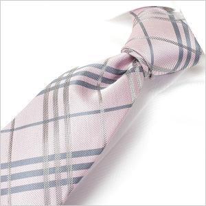ネクタイ レギュラーネクタイ ナロータイ 選べる剣先幅 メンズ 紳士用 ピンク シルバー グレー チェック|smartbiz