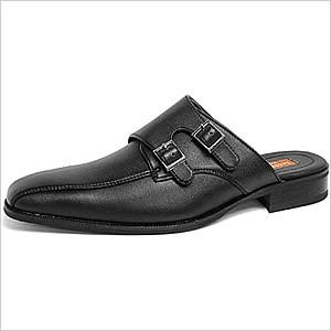 ビジネスシューズ 革靴 メンズ 靴 レザーシューズ 大人気 ビジネス PUレザー ラスアンドフリス ビジネスサンダル オフィススリッパ モンクストラップ|smartbiz