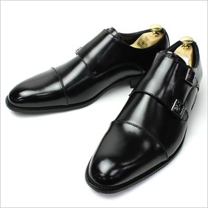 ビジネスシューズ 靴 shoes 革靴 メンズ ストレートチップ ダブルモンクストラップ 本革 ブラック|smartbiz