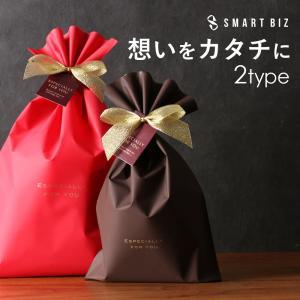 ギフトラッピングサービス 色が選べる マット素材ナイロンバッグ レッド&ブラウン プレゼント包装|smartbiz