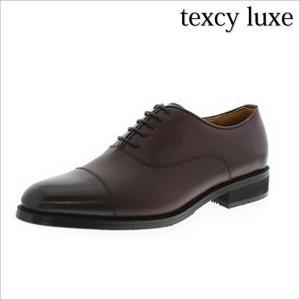 texcy luxe 靴 テクシー リュクス 革靴 紳士靴 メンズ TU-804 アシックス ビジネスシューズ 日本製 本革 内羽根 ストレートチップ 赤茶 ワイン 3E 幅広 走れる|smartbiz