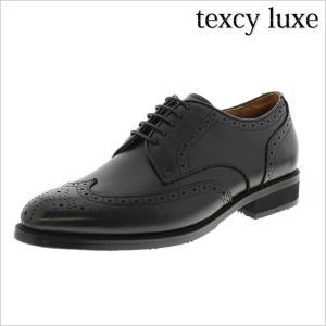 レースアップシューズ texcy luxe 靴 テクシー リュクス 革靴 紳士靴 メンズ ビジネスシューズ 日本製 本革 外羽根 ウィングチップ メダリオン 黒 ブラック 3E|smartbiz