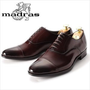レースアップシューズ madras マドラス 革靴 ビジネスシューズ 紳士靴 メンズ 本革 ストレートチップ ダークブラウン ブラウン 内羽根 3E 紳士 日本製|smartbiz
