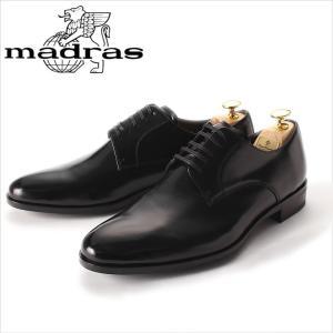 レースアップシューズ madras マドラス 革靴 ビジネスシューズ 紳士靴 メンズ 本革 プレーントゥ 外羽根 黒 ブラック メンズ 紳士 日本製|smartbiz