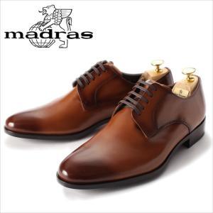 レースアップシューズ madras マドラス 革靴 ビジネスシューズ 紳士靴 メンズ 本革 プレーントゥ 外羽根 ライトブラウン ブラウン メンズ 紳士 日本製|smartbiz