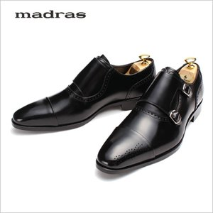 モンクストラップ ビジネスシューズ 革靴 マドラス 本革 牛革 ロングノーズ ブラック 黒 メンズ 紳士 ダブルモンクストラップ ブラック ビブラムソール|smartbiz