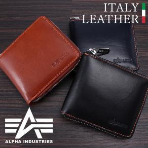 イタリアンレザー メンズ財布 ALPHA INDUSTRIES アルファインダストリーズ 財布 メンズ 紳士 二つ折り ラウンドファスナー 本革 牛革 黒 ブラック ブラウン|smartbiz