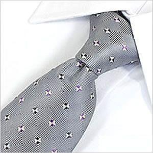 ネクタイ レギュラー メンズ 紳士用 洗える ウォッシャブル 洗濯可 デザイン グレー 小紋柄|smartbiz