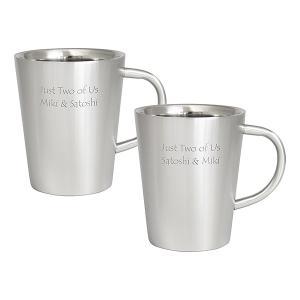 ダブルウォール ステンレスマグカップ ペア 名入れマグカップ