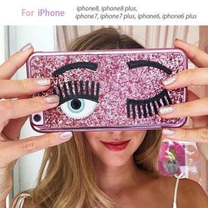 iPhone7Plus 保護フィルム 付き iPhone7 Plus ケース カバー iphone 8 7 plus おしゃれ デコ アイフォン7プラス 携帯カバー 耐衝撃 スマホカバー eyelashes