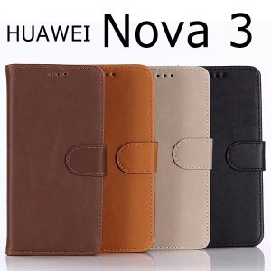 HUAWEI nova 3 ケース 手帳型 アンティーク調 カバー ファーウェイ ノバスリー スマホケース|smartphone-goods