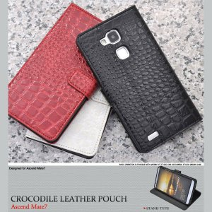 Huawei Ascend Mate7 ケース クロコダイルレザーデザインスタンドケース 手帳型ケース|smartphone-goods