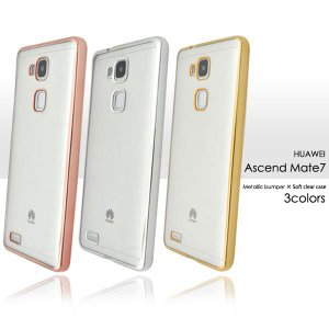 Huawei Ascend Mate7 ケース メタリックバンパーソフトクリアケース バンパーケース カバー|smartphone-goods