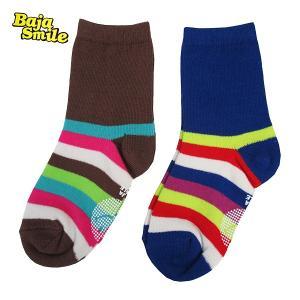 3足までメール便可能 BAJASMILE|バハスマイル 3P靴下:シンプルボーダークルー 13-19cm|smile-baby