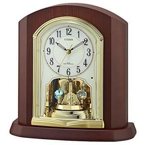 リズム時計工業(Rhythm) 置き時計 ブラウン 25.1x24.2x10.5cm Citizen (シチズン) 電波時計 木製枠 回転飾り 4RY702-N06|smile-box